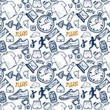 Άνευ ραφής σχέδιο εικονιδίων τρεξίματος που τίθεται στο ύφος doodle, σχέδιο χεριών Στοκ εικόνα με δικαίωμα ελεύθερης χρήσης