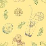 Άνευ ραφής σχέδιο λεμονάδας ασβέστη και μεντών Απεικόνιση αποθεμάτων