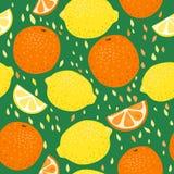 Άνευ ραφής σχέδιο λεμονιών και πορτοκαλιών Στοκ Εικόνες