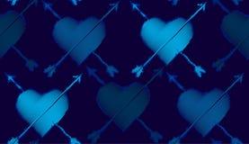 Άνευ ραφής σχέδιο επανάληψης που αποτελείται από τις καρδιές και τα βέλη Στοκ Εικόνες