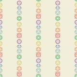 Άνευ ραφής σχέδιο επτά εικονιδίων chakras Γιόγκα, περισυλλογή, reiki Στοκ Εικόνες