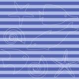 Άνευ ραφής σχέδιο ζωής θάλασσας με τα λωρίδες Στοκ εικόνα με δικαίωμα ελεύθερης χρήσης