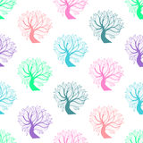 Άνευ ραφής σχέδιο, ζωηρόχρωμο δέντρο Στοκ εικόνα με δικαίωμα ελεύθερης χρήσης
