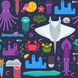 Άνευ ραφής σχέδιο ζώων θάλασσας Στοκ Εικόνες