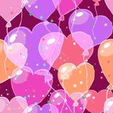 Άνευ ραφής σχέδιο ημέρας βαλεντίνου με τα μπαλόνια αέρα στη μορφή Στοκ Εικόνα