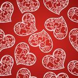 Άνευ ραφής σχέδιο ημέρας βαλεντίνου με τις καρδιές διχτυών ψαρέματος Στοκ φωτογραφίες με δικαίωμα ελεύθερης χρήσης
