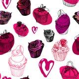 Άνευ ραφής σχέδιο ημέρας βαλεντίνου cupcakes διανυσματική απεικόνιση