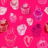 Άνευ ραφής σχέδιο ημέρας βαλεντίνου cupcakes Απεικόνιση αποθεμάτων