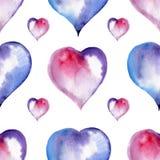 Άνευ ραφής σχέδιο ημέρας βαλεντίνων των καρδιών, watercolor Στοκ φωτογραφία με δικαίωμα ελεύθερης χρήσης