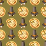 Άνευ ραφής σχέδιο ημέρας των ευχαριστιών με την πίτα και το καπέλο κολοκύθας Στοκ φωτογραφίες με δικαίωμα ελεύθερης χρήσης