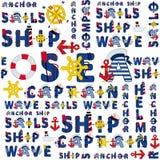 Άνευ ραφής σχέδιο θάλασσας των λέξεων Στοκ εικόνα με δικαίωμα ελεύθερης χρήσης