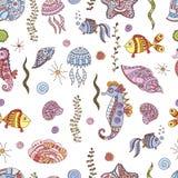 Άνευ ραφής σχέδιο θάλασσας doodle απεικόνιση αποθεμάτων