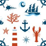 Άνευ ραφής σχέδιο θέματος θάλασσας Στοκ εικόνα με δικαίωμα ελεύθερης χρήσης