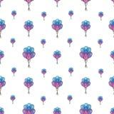 Άνευ ραφής σχέδιο διακοπών με τα πολύχρωμα μπαλόνια αέρα Έννοια σχεδίου για τις κάρτες δώρων, ευχετήριες κάρτες γενεθλίων, φεστιβ Στοκ Εικόνα
