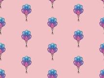 Άνευ ραφής σχέδιο διακοπών με τα πολύχρωμα μπαλόνια αέρα Έννοια σχεδίου για τις κάρτες δώρων, ευχετήριες κάρτες γενεθλίων, φεστιβ Στοκ Εικόνες