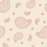 Άνευ ραφής σχέδιο διακοσμήσεων του Paisley Μπεζ και ροζ Στοκ Φωτογραφία