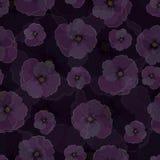 Άνευ ραφής σχέδιο, διαφανή λουλούδια σε ένα σκοτεινό κλίμα Στοκ Εικόνα