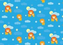Άνευ ραφής σχέδιο λιονταριών μωρών Στοκ Εικόνες