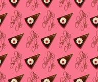 Άνευ ραφής σχέδιο κέικ σοκολάτας Στοκ φωτογραφία με δικαίωμα ελεύθερης χρήσης
