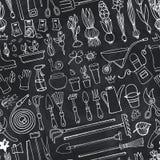Άνευ ραφής σχέδιο κήπων άνοιξη doodle Εργαλεία κιμωλίας, εγκαταστάσεις Στοκ εικόνες με δικαίωμα ελεύθερης χρήσης