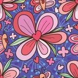 Άνευ ραφής σχέδιο καρδιών αγάπης λουλουδιών επιθυμίας πεταλούδων Στοκ Εικόνες