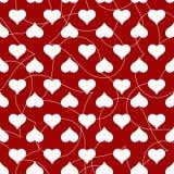 Άνευ ραφής σχέδιο καρδιών για την κάρτα ημέρας βαλεντίνων Στοκ Εικόνα