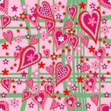 Άνευ ραφής σχέδιο καρδιών και λουλουδιών Στοκ Φωτογραφία