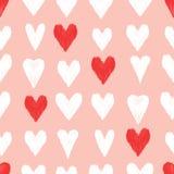 Άνευ ραφής σχέδιο καρδιών κακογραφίας Στοκ Εικόνα
