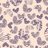 Άνευ ραφής σχέδιο καρδιών μελανιού zentangle Στοκ Εικόνα