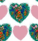 Άνευ ραφής σχέδιο καρδιών Macaw Συρμένη χέρι εικόνα Στοκ εικόνα με δικαίωμα ελεύθερης χρήσης