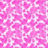 Άνευ ραφής σχέδιο καρδιών Watercolor ρόδινο Στοκ φωτογραφία με δικαίωμα ελεύθερης χρήσης