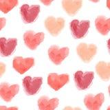 Άνευ ραφής σχέδιο καρδιών watercolor Στοκ εικόνες με δικαίωμα ελεύθερης χρήσης