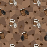 Άνευ ραφής σχέδιο καφέ για το κλωστοϋφαντουργικό προϊόν, την κατασκευή, τις ταπετσαρίες και την τυπωμένη ύλη Στοκ εικόνες με δικαίωμα ελεύθερης χρήσης
