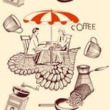Άνευ ραφής σχέδιο καφέ με τον πίνακα καφέδων, τον καφέ και το χαριτωμένο ζεύγος Στοκ φωτογραφία με δικαίωμα ελεύθερης χρήσης