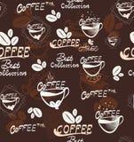 Άνευ ραφής σχέδιο καφέ χεριών, διανυσματική απεικόνιση Στοκ Εικόνες