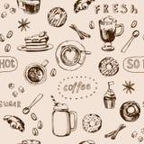 Άνευ ραφής σχέδιο καφέ doodle, χέρι που σύρεται διάνυσμα απεικόνιση αποθεμάτων