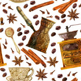 Άνευ ραφής σχέδιο καφέ Watercolor Στοκ φωτογραφία με δικαίωμα ελεύθερης χρήσης