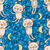 Άνευ ραφής σχέδιο καληνύχτας γατών Στοκ Εικόνες