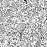 Άνευ ραφής σχέδιο κινηματογράφων κινούμενων σχεδίων doodles Στοκ Εικόνες