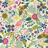 Άνευ ραφής σχέδιο κινούμενων σχεδίων με τα τροπικά φύλλα και τα λουλούδια Στοκ φωτογραφία με δικαίωμα ελεύθερης χρήσης