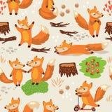 Άνευ ραφής σχέδιο κινούμενων σχεδίων με τις χαριτωμένες αλεπούδες διάνυσμα Στοκ Φωτογραφίες