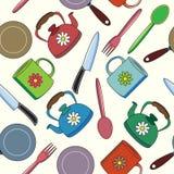 Άνευ ραφής σχέδιο κουζινών. Στοκ Φωτογραφίες