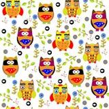 Άνευ ραφής σχέδιο κουκουβαγιών colourfull για τα παιδιά στο διάνυσμα Στοκ Εικόνες