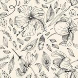 άνευ ραφής σχέδιο κρυστάλλου και λουλουδιών μέσα Στοκ φωτογραφία με δικαίωμα ελεύθερης χρήσης