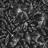 άνευ ραφής σχέδιο κρυστάλλου και λουλουδιών μέσα Στοκ Φωτογραφία