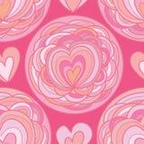Άνευ ραφής σχέδιο κύκλων λουλουδιών αγάπης Στοκ Εικόνες