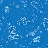 Άνευ ραφής σχέδιο κώλων με τα χειμερινά ενδύματα Στοκ Εικόνες