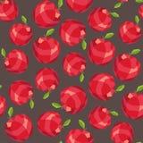 Άνευ ραφής σχέδιο μήλων πολυγώνων κόκκινο διανυσματική απεικόνιση