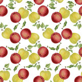 Άνευ ραφής σχέδιο μήλων Watercolor Στοκ Φωτογραφία