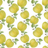 Άνευ ραφής σχέδιο μήλων Watercolor Στοκ Εικόνες